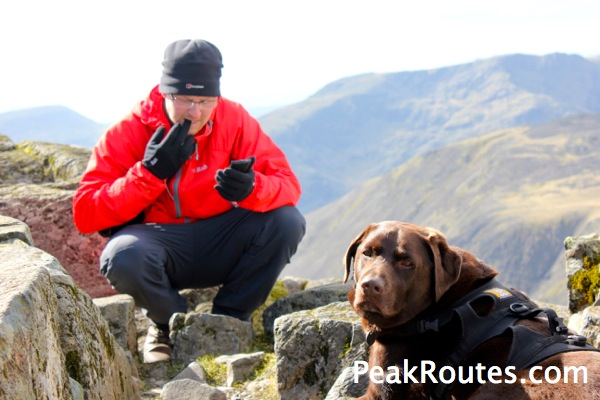 Alex & Oscar the wonder dog on Great Gable