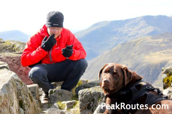 Alex & Oscar the wonder dog on Great Gable