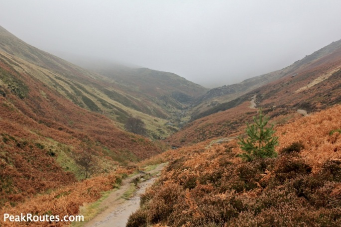 Looking up Grindsbrook from below Upper Tor