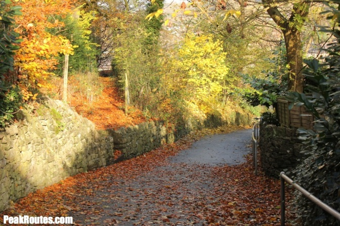 Autumnal footpath down to Bakewell