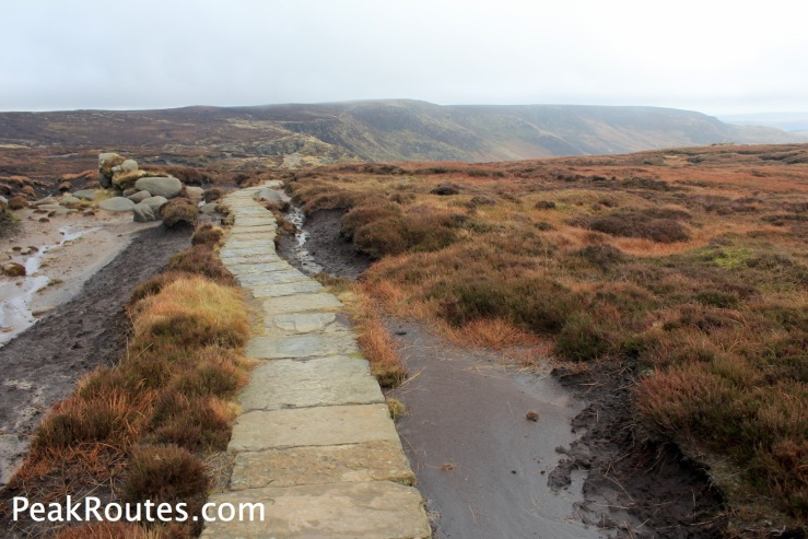 Paved path to the top of Grindsbrook Clough