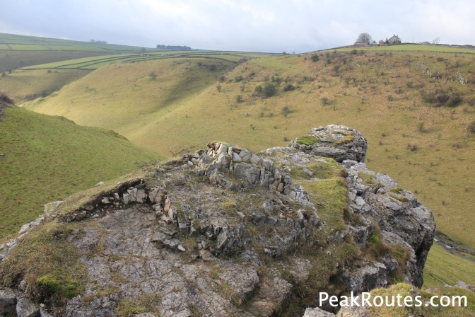 Looking down to Cressbrook Dale from the top of Peter's Stone