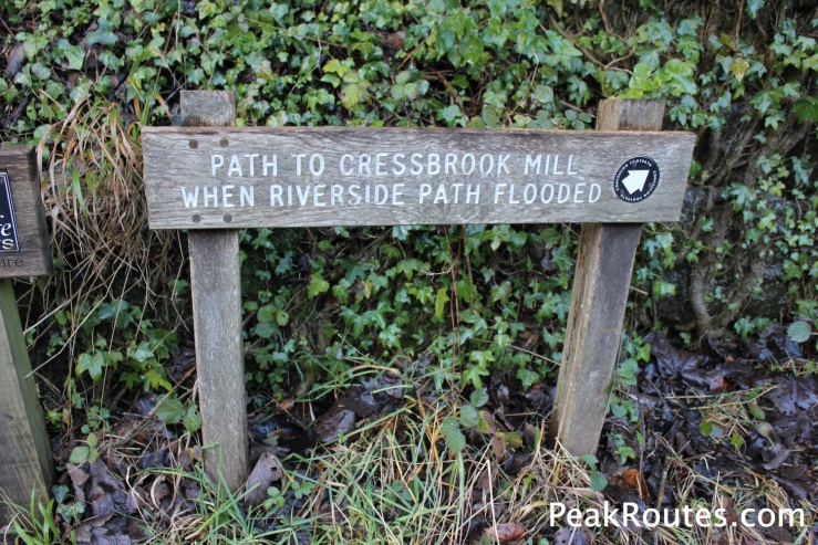 Diversion due to the flooded footpath to Cressbrook along the River Wye