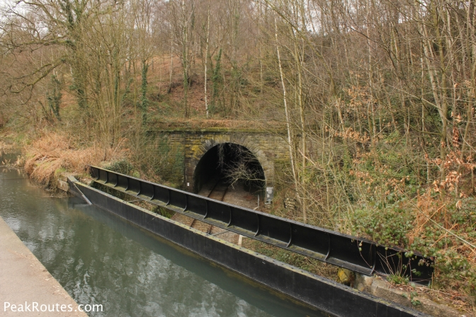 Railway aqueduct 7 south of Leawood on the Cromford Canal, constructed in 1849, when the the railway was built from Ambergate to Rowsley