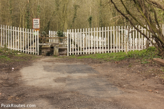 The footpath across the railway at Bullbridge which the Aquaduct once carried the canal over