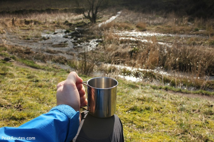 Relaxing with a coffee in Lathkill Dale