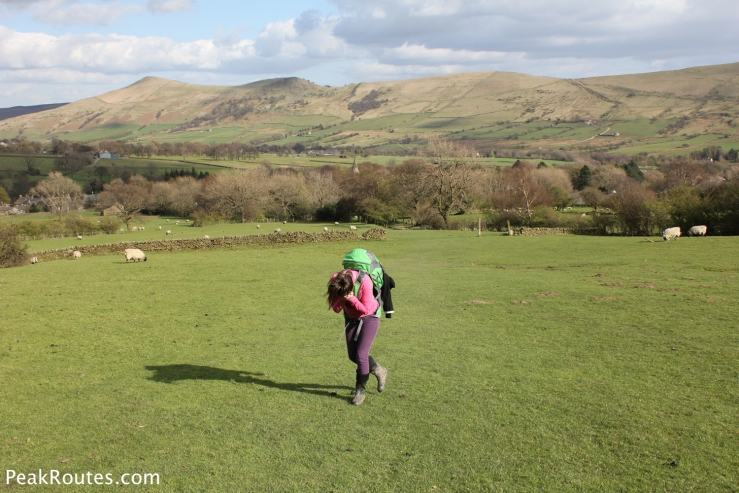 My daughter trying to hide from the camera while walking in the Vale of Edale