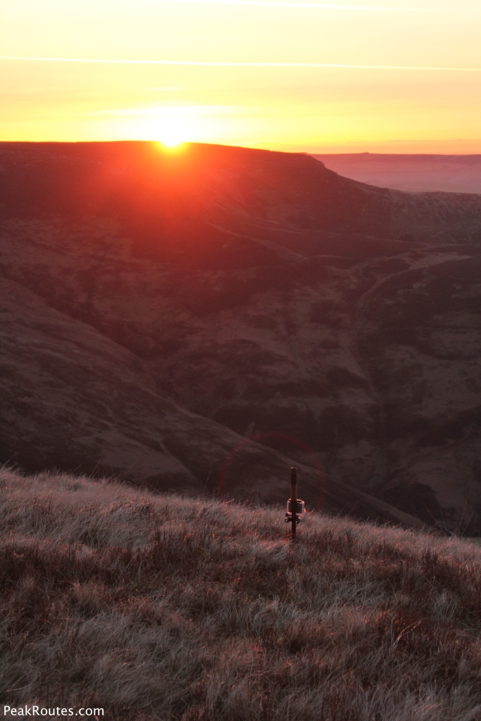 GoPro Hero 3 recording a time lapse of the sunrise over the eastern flanks of Kinder Scout