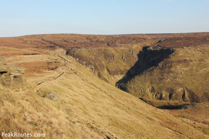Looking down towards Grindsbrook Clough from Grindslow Knoll
