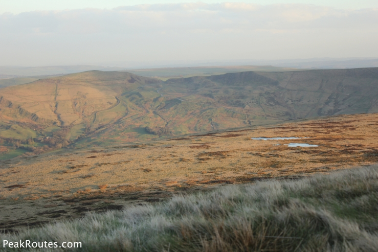 Mam Tor in the distance and the tarns above Broadlee-Bank Tor in the foreground