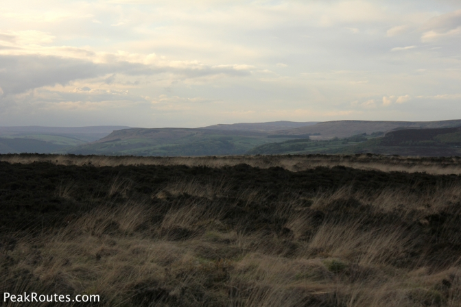 Bamford Edge on the left, Stanage Edge on the right and Derwent Edge in the centre