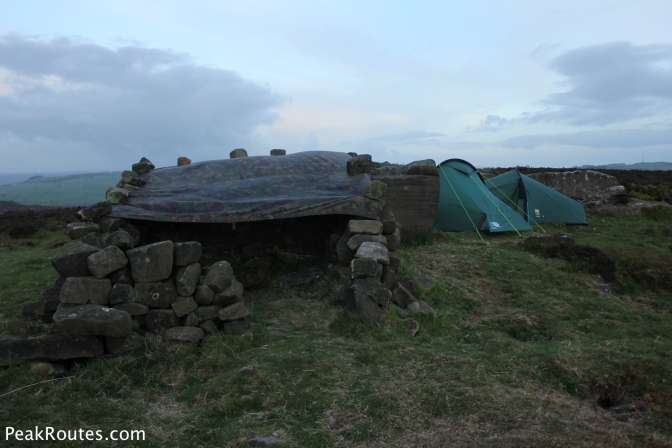 We also pitched a tarp next to the tents where we sat during a shower in the evening