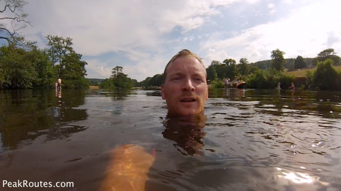 Wild Swimming in the River Derwent at Chatsworth