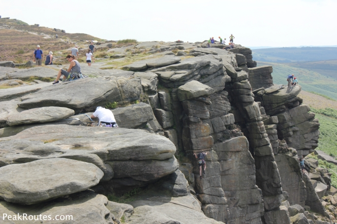 Climbers on Stanage Edge
