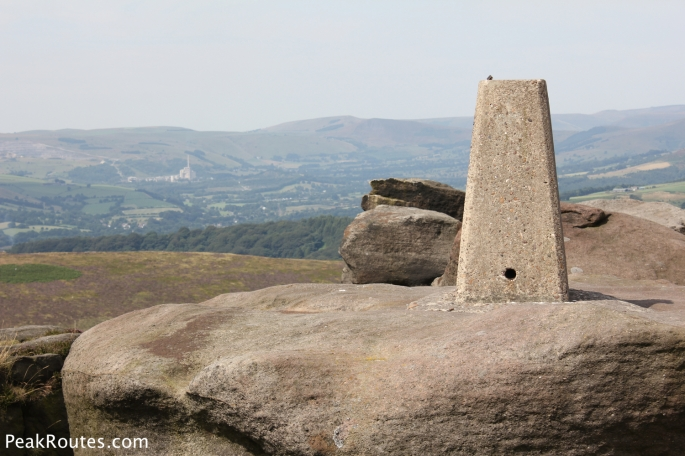 White Path Moss trig pillar on Stanage Edge