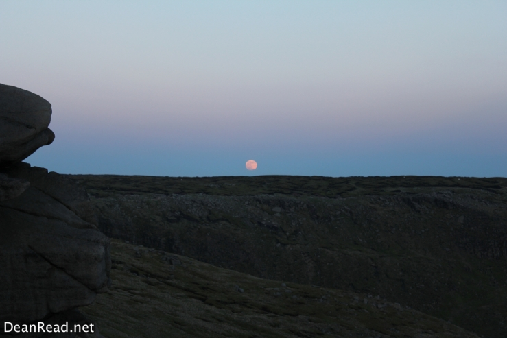 Moon rising over the Kinder Plateau